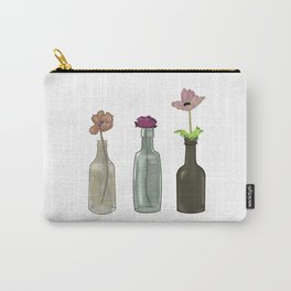 Flowers in Glass Bottles . Pastel Colors Carry-All Pouch