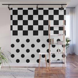 CHECKERS & SPOTS (BLACK-WHITE) Wall Mural