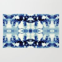 tie dye Area & Throw Rugs featuring Tie Dye Blues by Nina May Designs