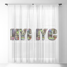 NYC (typography) Sheer Curtain
