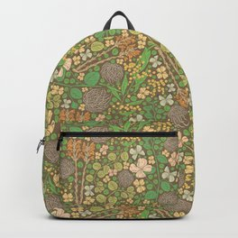 Tumbleweed with broomrape and yellow mimosa on brown background Backpack