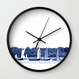 Dutch sailing boats in Delft Blue colors Wall Clock