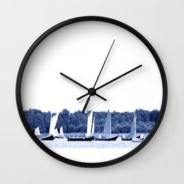 Dutch sailing boats in Delft Blue colors Wall Clock