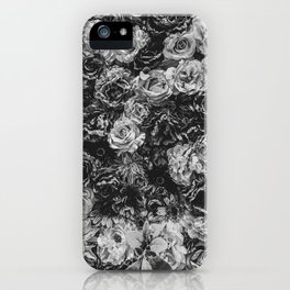 Flower Wall // Black and White Flat Floral Accent Background Jaw Dropping Decoration iPhone Case