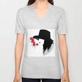 Woman who smelling flowers Unisex V-Neck