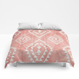mint & coral tribal pattern (2) Comforters