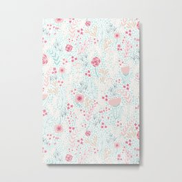 Floral Pattern #1 | Mint and Pink Palette Metal Print