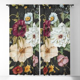 Colorful Wildflower Bouquet on Charcoal Black Blackout Curtain