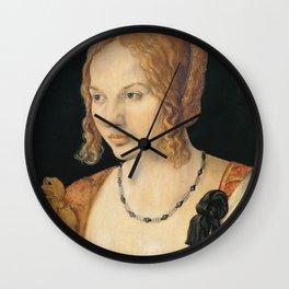 Albrecht Durer - Portrait Of A Young Venetian Woman 1505 Wall Clock