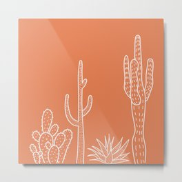 Terracotta cactus illustration white outline art Metal Print