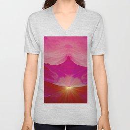 Pink romantic mountains Unisex V-Neck