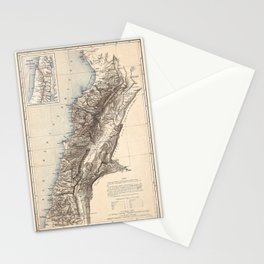 Map Of Lebanon 1864 Stationery Cards
