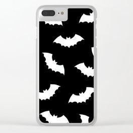 Black & White Bats Pattern Clear iPhone Case