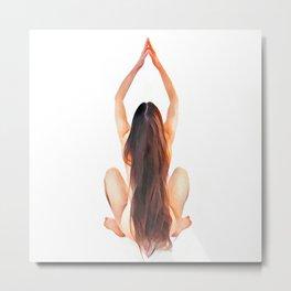 6828s-JAL Long Hair Nude Model Avonelle Rear View Rapunzel Rendered as Watercolor by Chris Maher Metal Print