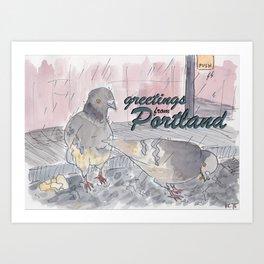 Portland Pigeons - Big Pink GREETINGS Art Print