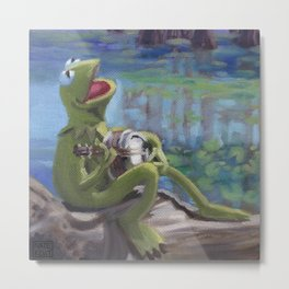Banjo Playing Frog Metal Print