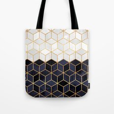 White & Navy Cubes Tote Bag