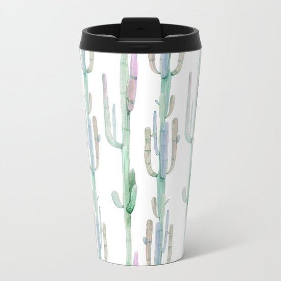 Arizona Wilderness Cactus Pattern Metal Travel Mug