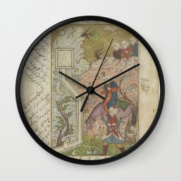 Man carries warrior and horse on his shoulders, anonymous, 1500 - 1600 Wall Clock