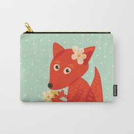 Cute Fox And Flowers Carry-All Pouch