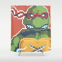 teenage mutant ninja turtles Shower Curtains featuring Teenage Mutant Ninja Turtles - Raphael by James Brunner