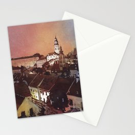 Castle rising above buildings of medieval village of Cesky Krumlov- Czech Republic Stationery Cards