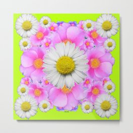 Chartreuse Green Color Shasta Daisies & Rose Pattern Metal Print
