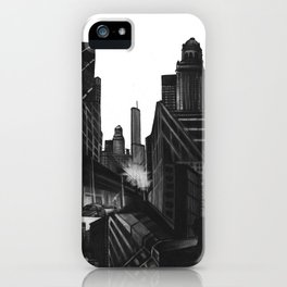 Longing in the City, charcoal on illustration board iPhone Case