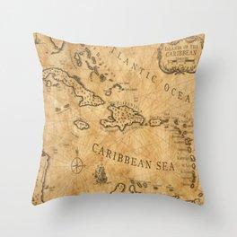 Old Nautical Map Carribeans Throw Pillow