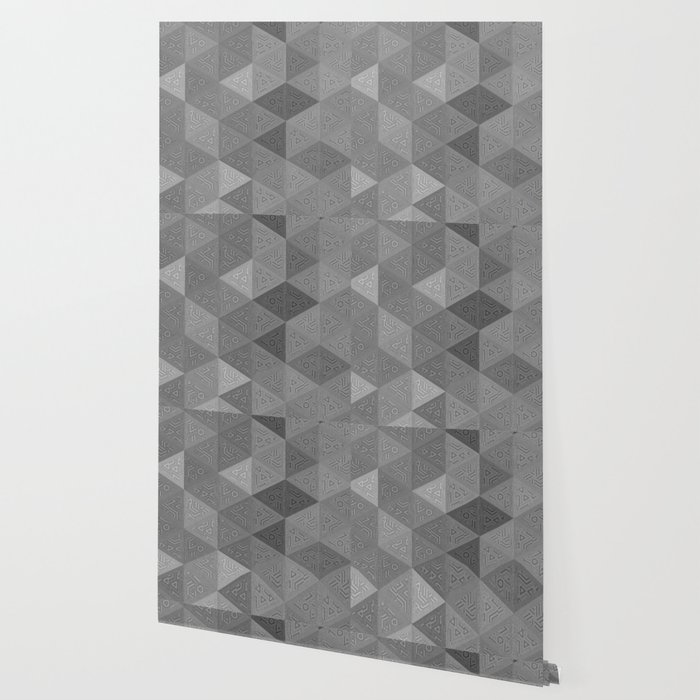 Grey Patterned Triangles Wallpaper