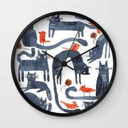 SUNDAY CATS Wall Clock