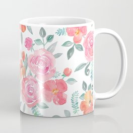 Amelia Floral in Pink and Peach Watercolor Coffee Mug