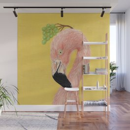 flamingo with grape, Crown Me Plz Wall Mural