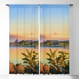 Rio De Janeiro with Sugarloaf in Background, Brazil coastal landscape painting by Alessandro Cicarelli Blackout Curtain