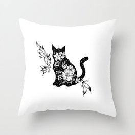 Floral Cat Throw Pillow