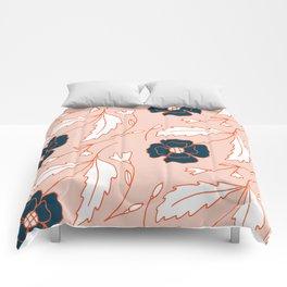 Pastel pink orange navy blue hand painted floral pattern Comforters