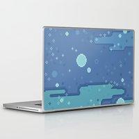 8bit Laptop & iPad Skins featuring Blue Space Bubbles (8bit) by Sarajea