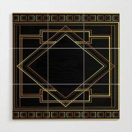 art deco gatsby black and gold lines geometric pattern Wood Wall Art