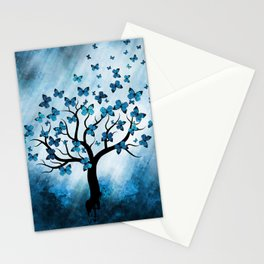 Butterfly Tree - Blue Marble Mist Stationery Cards