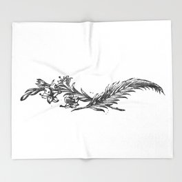 Flowers and feather Throw Blanket