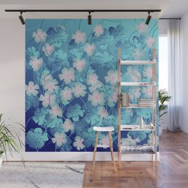 Blue Flowers Fantasy Wall Mural