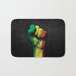 Senegal Flag on a Raised Clenched Fist Bath Mat