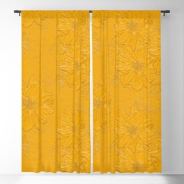 Embossed Yellow Floral Blackout Curtain