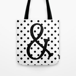 Ampersand Black White Dots Tote Bag