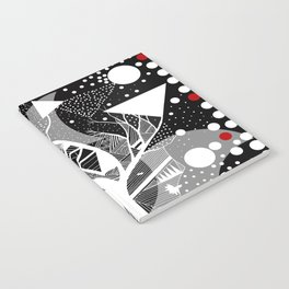 black and white abstract with touch of red Notebook