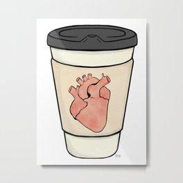 Heart on my coffee sleeve - Watercolor Simple Metal Print