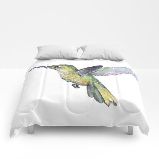 Hummingbird Watercolor Bird Animal Comforters