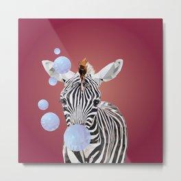 Zebra with Bubblegum Metal Print