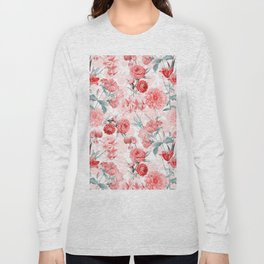 Vintage & Shabby Chic - Rose Blush Garden Flowers Long Sleeve T-shirt