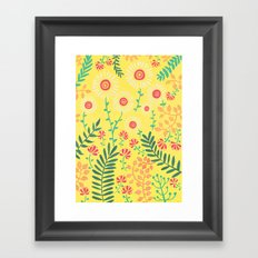 A Yellow Flowery Pattern Framed Art Print